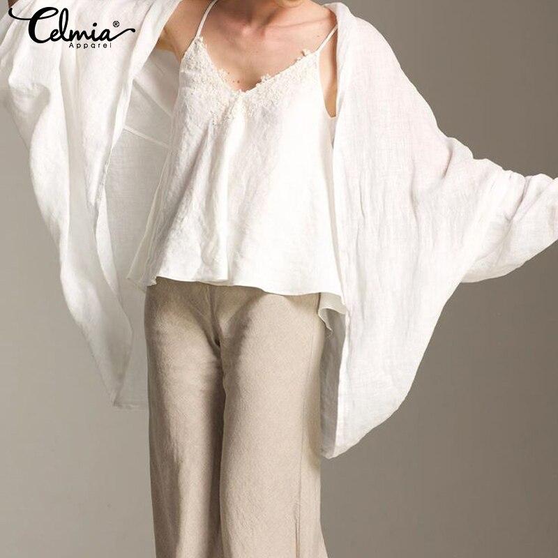 Celmia Vintage Cotton Linen Kimono Cardigan Women Blouses 2019 Fashion Tops  Sleeve Casual Loose Blusas Plus Size Shirts
