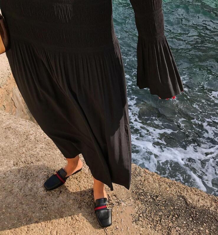 2019 Новое Женское платье миди осенне зимнее плиссированное платье с коротким рукавом, женские длинные платья, повседневная одежда - 6
