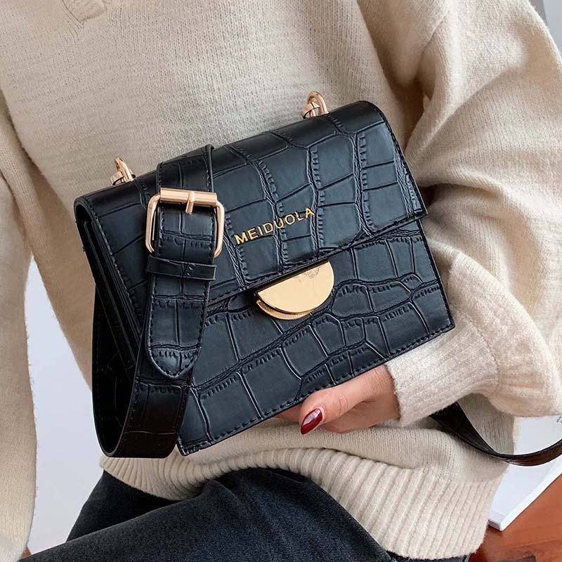 Stone Pattern PU Leather Crossbody Bags For Women 2019 Luxury Quality Shoulder Messenger Bag Female Handbags And Purses
