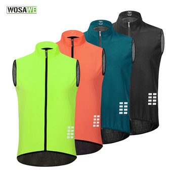 WOSAWE Reflective Cycling Vest Rear Mesh Breathable Ciclismo Mtb Bike Jersey Lightweight Windproof Running Hiking Gilet wosawe cycling windbreaker jacket cycling motocross riding outwear lightweight waterproof coat mtb bike jersey reflective coat