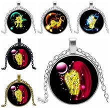 2019 Hot Creative Twelve Constellation Time Crystal Glass Convex Round Pendant Necklace Clothing Sweater Chain Jewelry