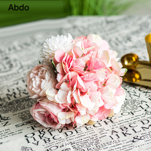 30cm Rose Silk Peony Ins Artificial Flowers Bouquet 8 Big Head and 10 Small Fake for Home Wedding Decoration