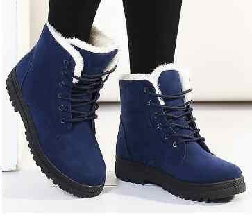 Kar botları 2020 sıcak peluş kürk astarı kadın kışlık botlar kare topuklu akın ayak bileği çizmeler kadın ayakkabıları kış ayakkabı dantel-up kadın