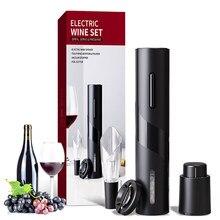 Abridor de vinho elétrico criativo recarregável automático com cabo de carregamento usb ferramenta 4 pçs conjunto manual saca-rolhas abridor de garrafa de vinho