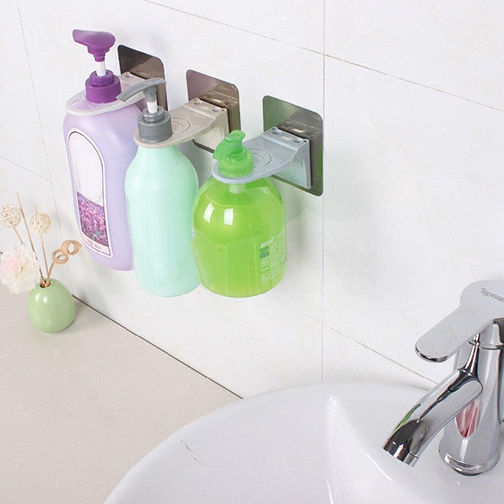 1PC Self Adhesive Bathroom Shelves Wall-Mounted Shower Gel Bottle Holder Shampoo Liquid Hanging Hook Rack Hand Sanitizer Stand