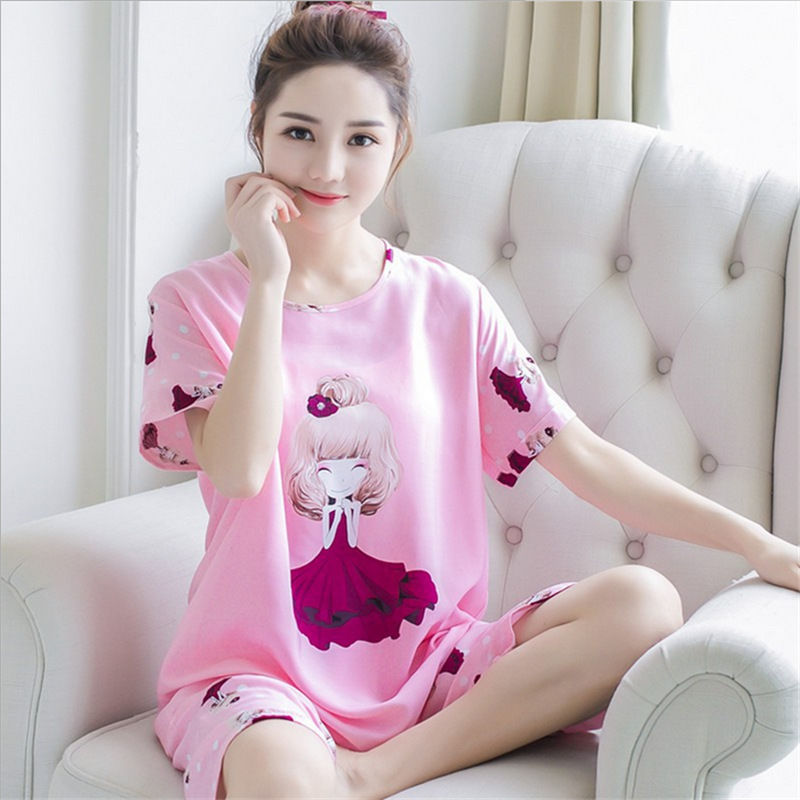 New Products Short Sleeve Pajamas Women's Summer Korean Style Thin Incense Pansy Girl Printed Women's Tracksuit Piece-Outer Wear