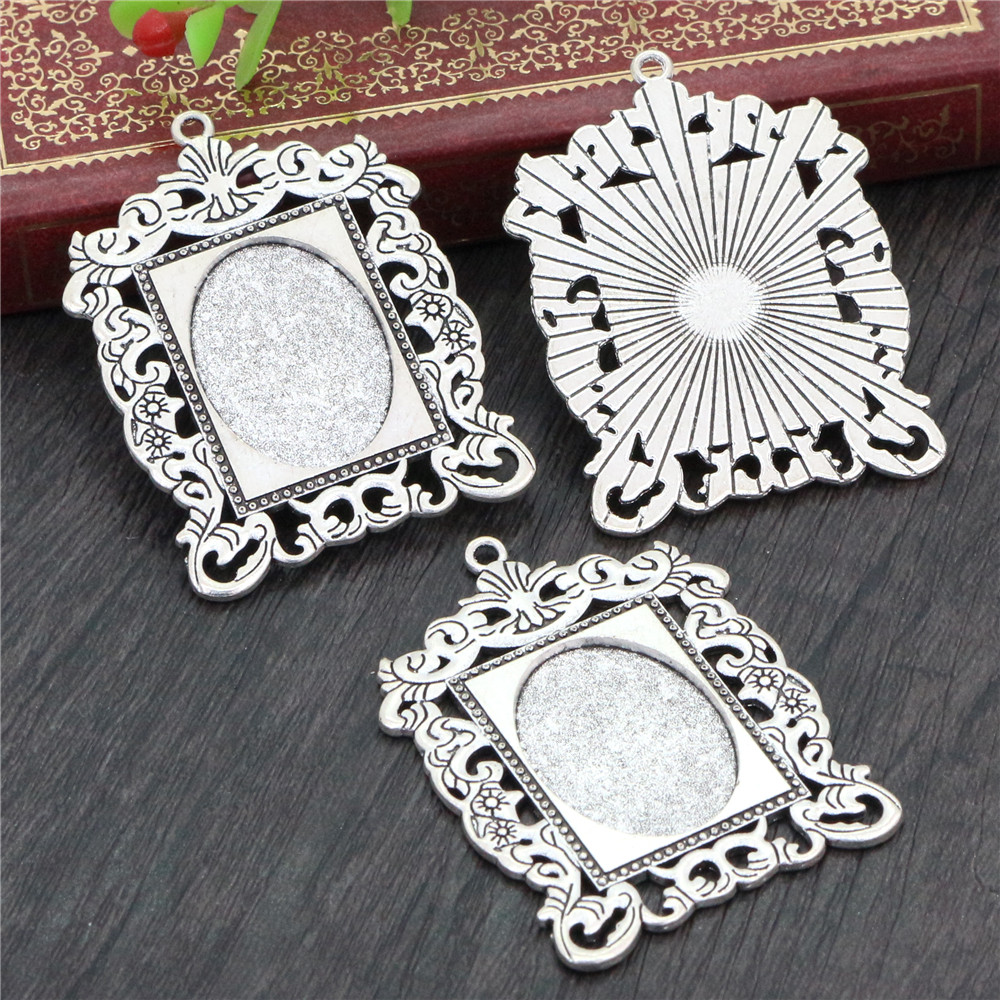2pcs 18x25mm Inner Size Antique Silver Plated Flowers Style Cameo Cabochon Base Setting Pendant Necklace Findings  (C2-12)