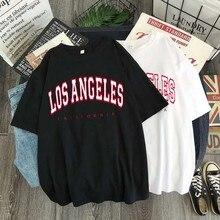 Camiseta de verano Y2k para mujer, Top informal de gran tamaño, camiseta de manga corta a la moda de Los Ángeles, ropa de calle con imágenes estampadas con letras de Estados Unidos