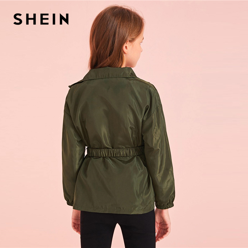 SHEIN Kiddie Army Green Flap Pocket Zipper Front Wind Jacket Shein Young Girls Collection