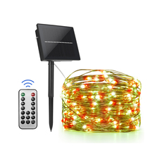 Lighting Solar-Strings Outdoor Led Fairy Christmas-Party Holiday Green Red Garden