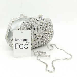 Image 4 - Женский Блестящий клатч Boutique De FGG, серебристая сумочка со стразами, вечерняя сумочка для свадебной вечеринки, металлическая сумочка для невесты
