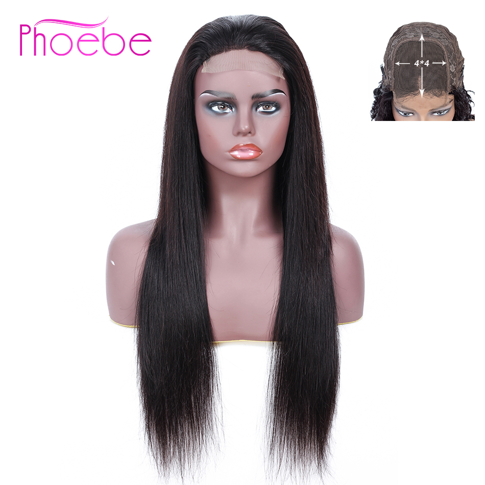 Phoebe Brazilian Straight 4*4 Lace Closure Human Hair Wigs With Baby Hair Lace Closure Wig For Black Women Non-Remy 130% Density