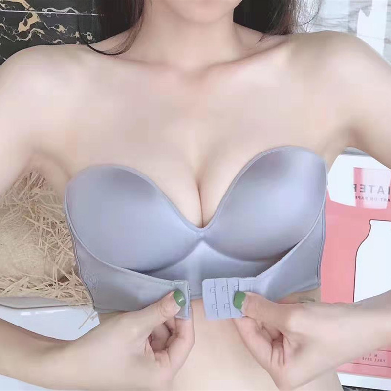 New strapless non-slip female underwear small chest thickened front three rows of buckles gathered invisible push up bra 1