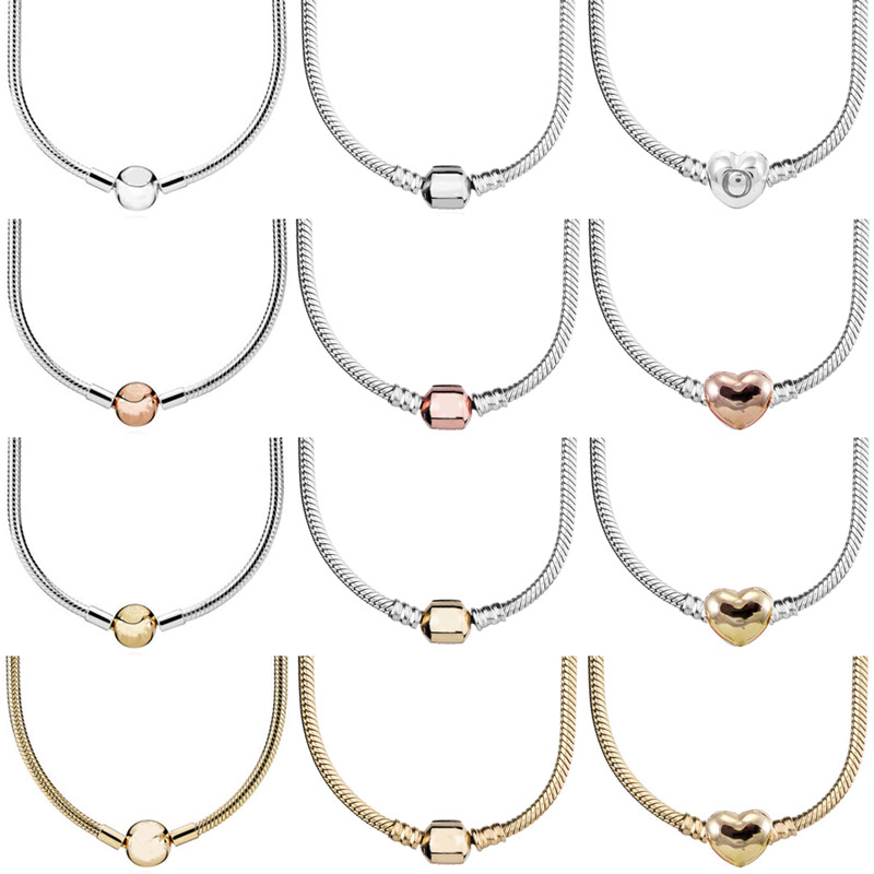 Real Rose Gold & Silver Love Heart Ball Barrel Clasp Snake Chain 925 Sterling Silver Necklace For Pandora Bead Charm DIY Jewelry(China)