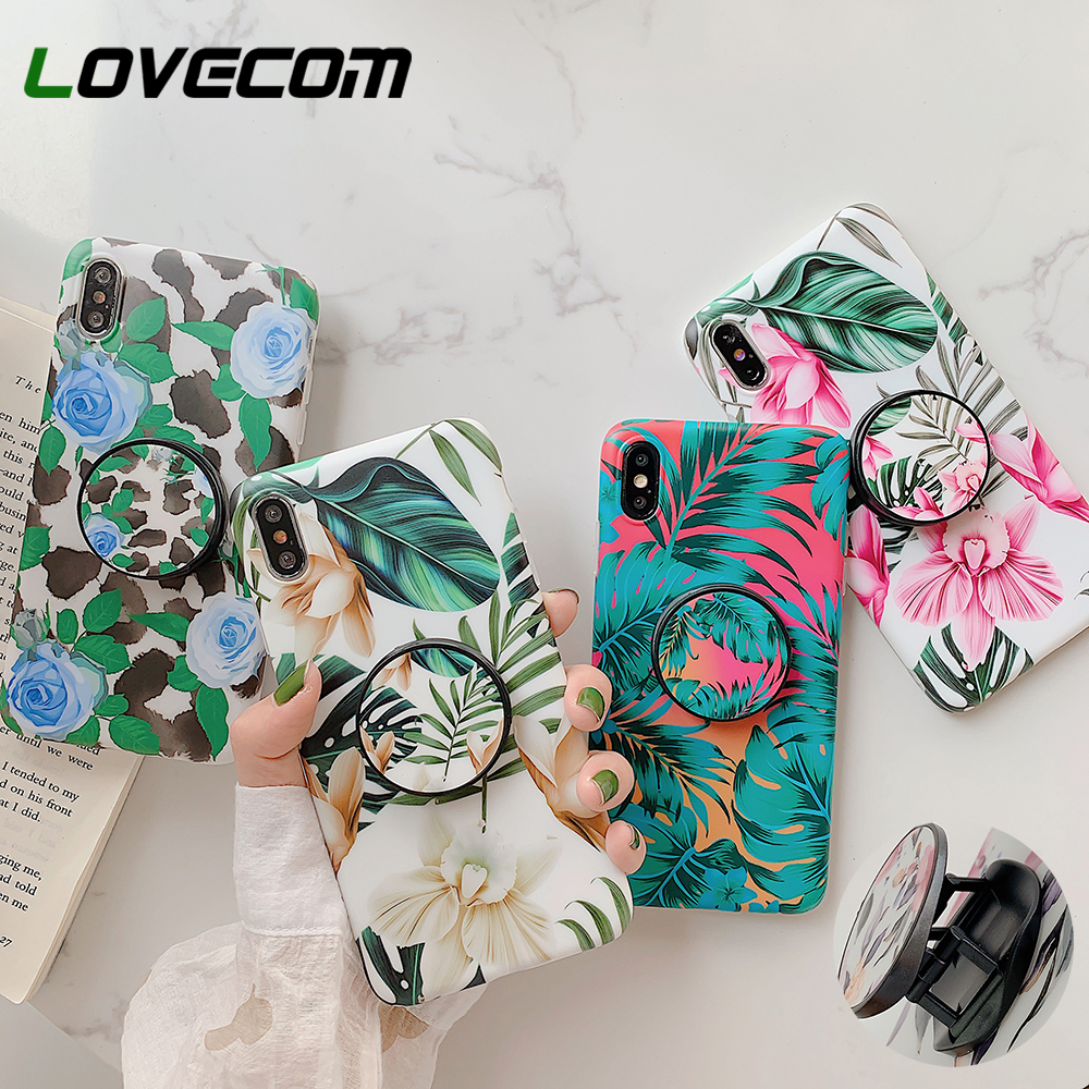 LOVECOM Retro Flower Leaf Phone Case With Holder For IPhone 11 Pro Max XR XS XS Max 7 8 6 Plus Case Soft IMD Phone Back Cover