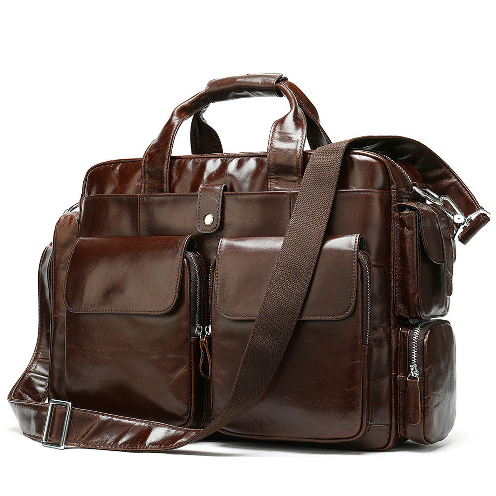 Genuine Leather Laptop Male Package Man Portable Layer Cowhide Single Shoulder Messenger Computer Bag Office Men Free Shipping
