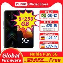 Оригинальная глобальная прошивка, Nubia играть 5G мобильный телефон 6,65 ''amoled 144 Гц 8 Гб 256 Snapdragon 76 5G Octa Core рамка RedMagic 5G lite