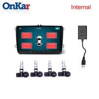 Onkar アンドロイド usb タイヤ空気圧監視システムプラグアンドプレイ車 dvd プレーヤー gps ナビゲーション 4 内部センサー usb tpms