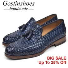 GOSTINSHOES HANDMADE Mens Loafers Blue Green Painted Woven Genuine Leather Mens Casual Shoes Tassel Slip-On Goodyear Welted SCT7 цена в Москве и Питере