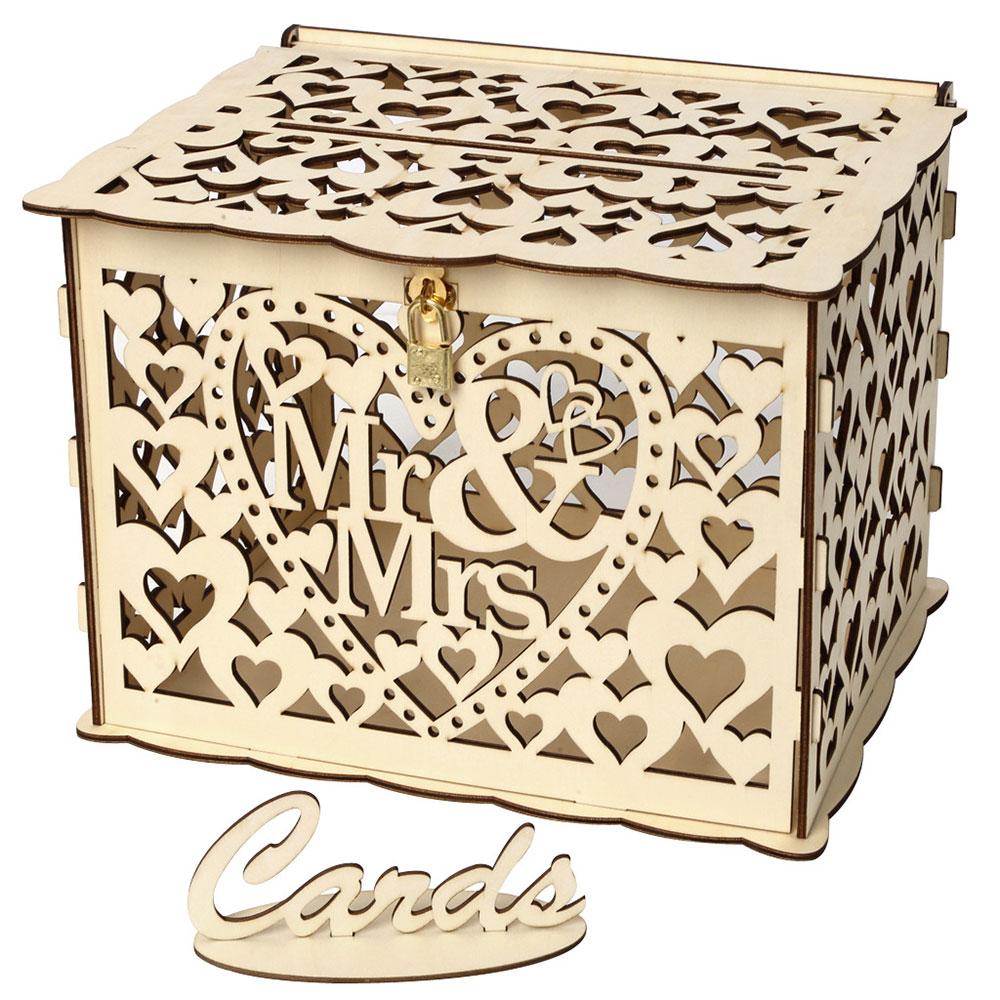 Wedding Card Boxes Wooden Box Wedding Supplies DIY Couple Deer Bird Flower Pattern Grid Business Card Wooden Box