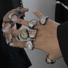 FFLACELL 2021 новые оригинальные винтажные панк эластичные Стрейчевые кварцевые часы кольца для женщин мужчин хип-хоп аксессуары для пар