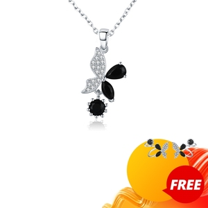 Image 1 - Черный ость 2020 новый 925 стерлингового серебра ювелирные изделия Элегантные ожерелья подвески модная цепочка из натурального бабочки для женщин Bijoux (украшения своими руками) KN015