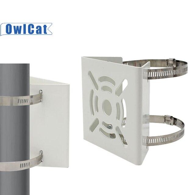 Owlcat fora da câmera de cctv suporte de aro de ferro pólo montagem titular suporte coluna stent metal para câmera de vigilância por vídeo