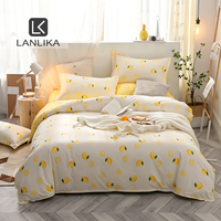 Lanlika Bettwäsche sets Nordic Tröster Bettdecke Bettdecke Doppelbett Flache Blätter Bett Bettwäsche Set Erwachsene Königin König Bettwäsche-in Bettwäsche-Sets aus Heim und Garten bei