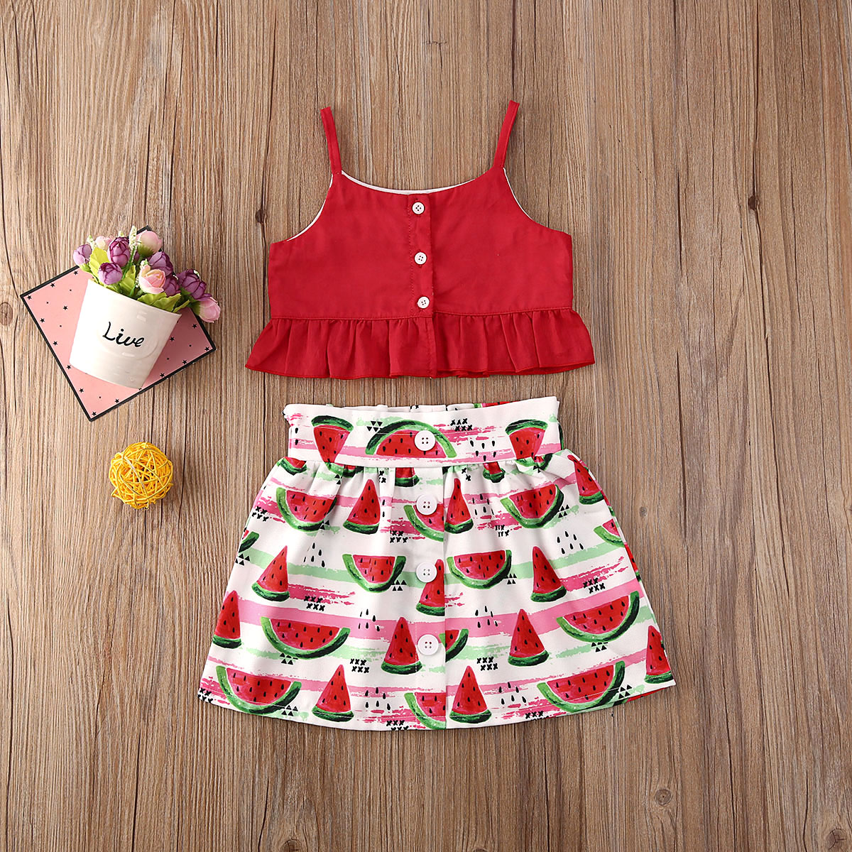Pudcoco Toddler Baby Girl Clothes Solid Color Sleeveless Button Crop Tops Watermelon Print Mini Skirt 2Pcs Outfits Clothes