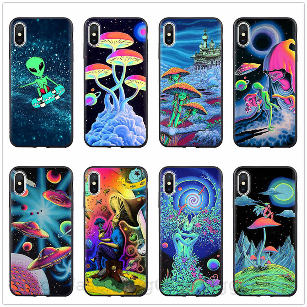 Cute Cartoon UFO Jungle alien space Soft Silicone Phone Case Cover Shell For Apple iPhone 5 5s Se 6 6s 7 8 Plus X XR XS MAX case Coque For Apple ...