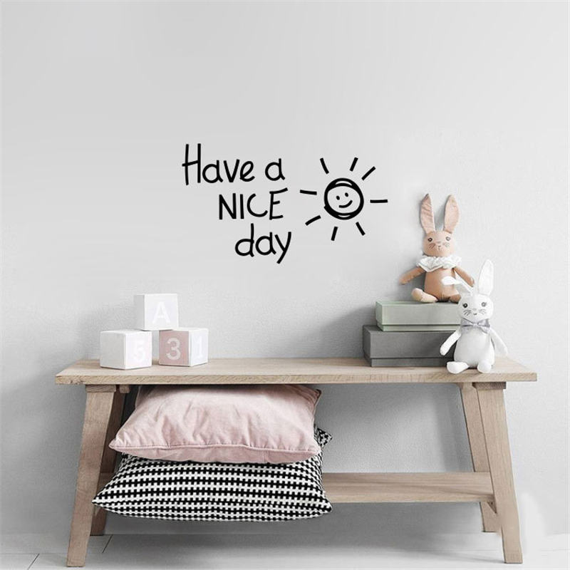 Sun Letter Pattern Wall Stickers Have A Nice Day Wall Paper Living room Bedroom Removable Art Mural Decal Deco 1PC