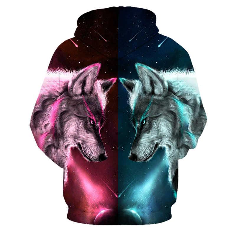 แฟชั่น Cool หมาป่า Hoodies ผู้ชาย/ผู้หญิงบาง 3D เสื้อกับหมวกพิมพ์สัตว์ Tiger Hoodie Sweatshirt Mens Tracksuit แจ็คเก็ต