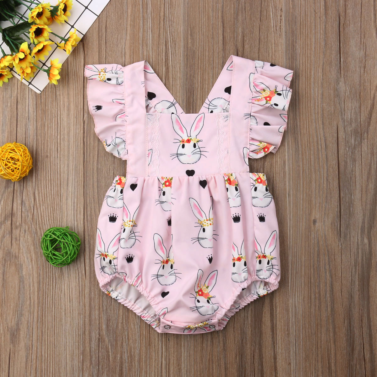 Pudcoco Newborn Baby Girl Clothes Cartoon Rabbit Print Sleeveless Romper Jumpsuit One-Piece Outfit Sunsuit Clothes