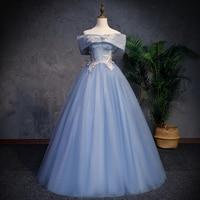 Wedding Dress 2019 Off The Shoulder Blue Wedding Dresses Elegant Boat Neck Short Sleeve Lace Plus Size Vestido De Novia CH066