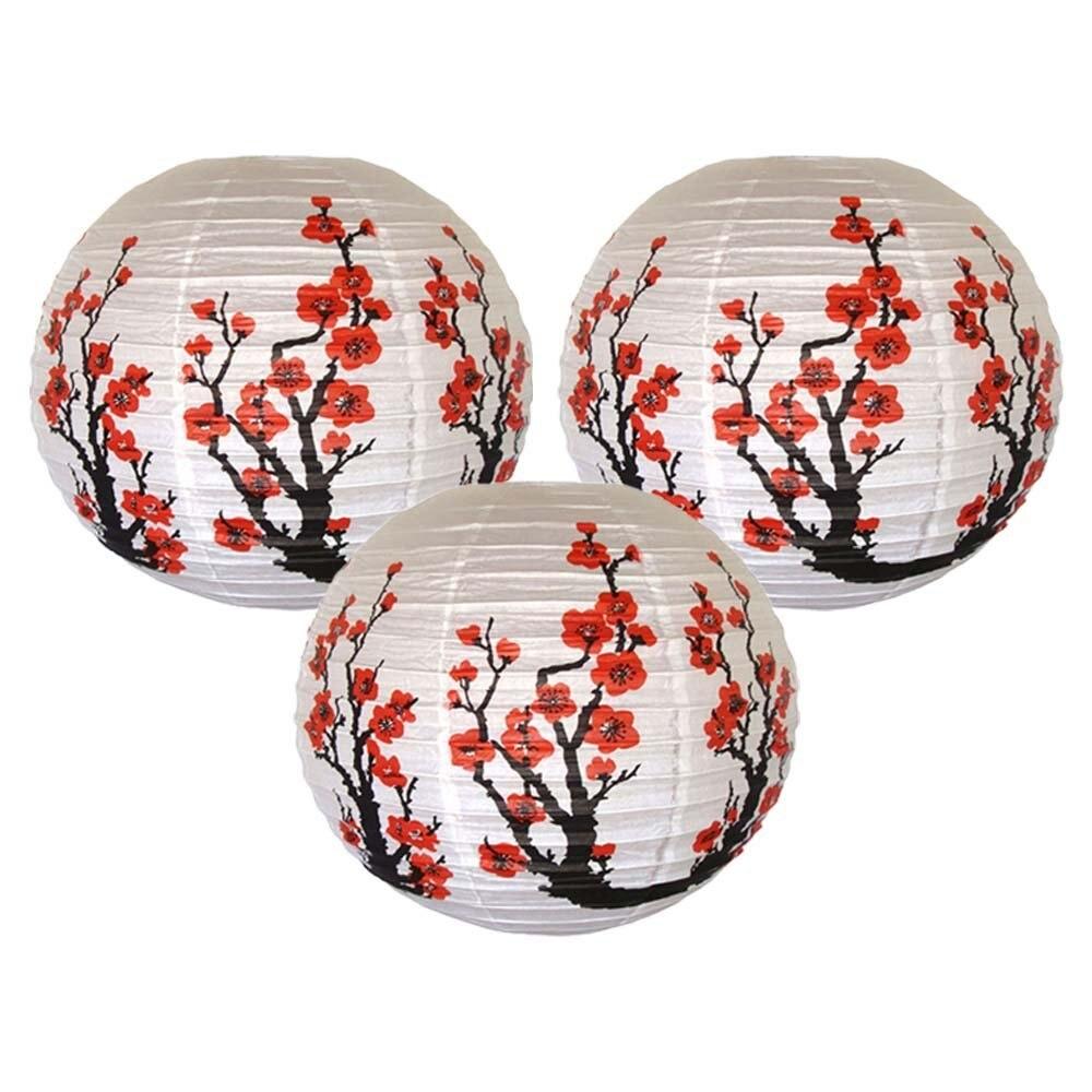 3pcs/lot Red Sakura Paper Lanterns 16inch 40cm Chinese Japanese Festival Paper Lantern Flower Balls Wedding Party Decorations