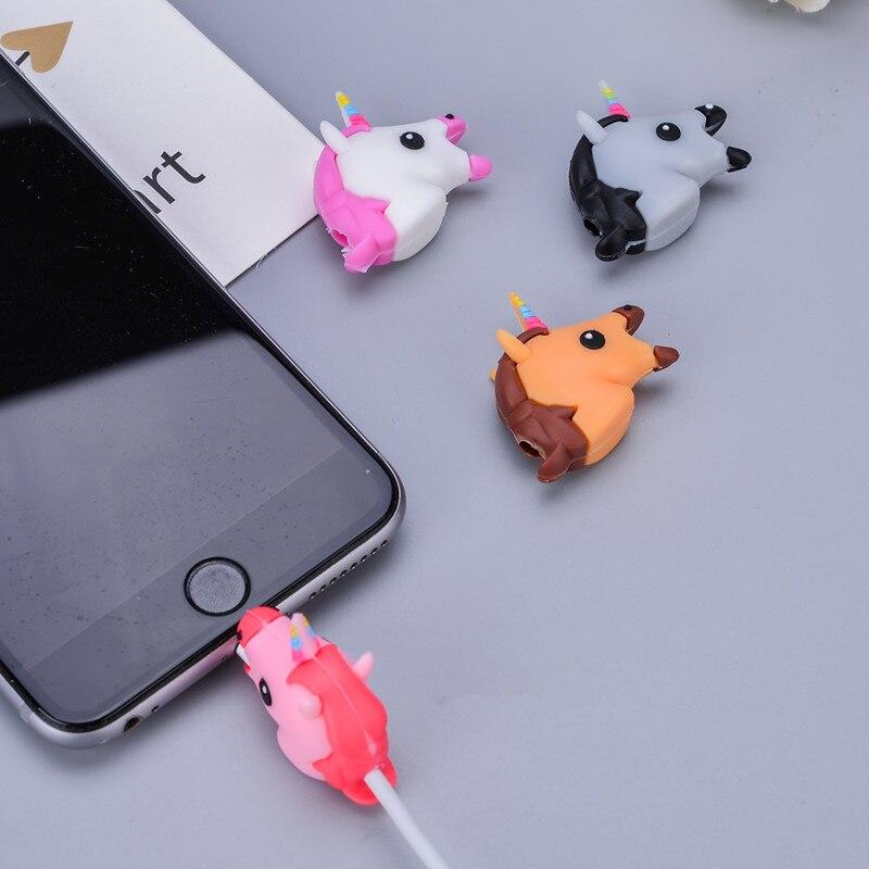 1 pcs Unicorn bites animal shape data line protector Animal Cable bites Protector for iPhone protege cartoon Cable Protection