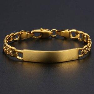 Золотой Серебряный цвет персонализированная с именем ребенка браслет Фигаро звено цепи ID Гравированный браслет для детей ювелирные изделия LGB427SF114|Индивидуальные Браслеты|   | АлиЭкспресс