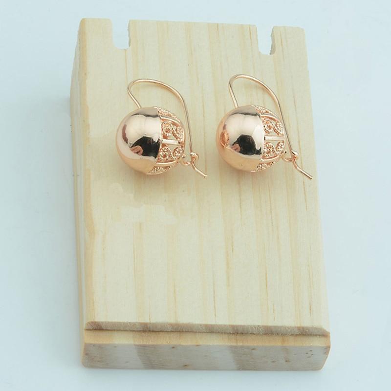 Модные ювелирные серьги, женские круглые серьги из розового золота 585 пробы с круглыми шариками