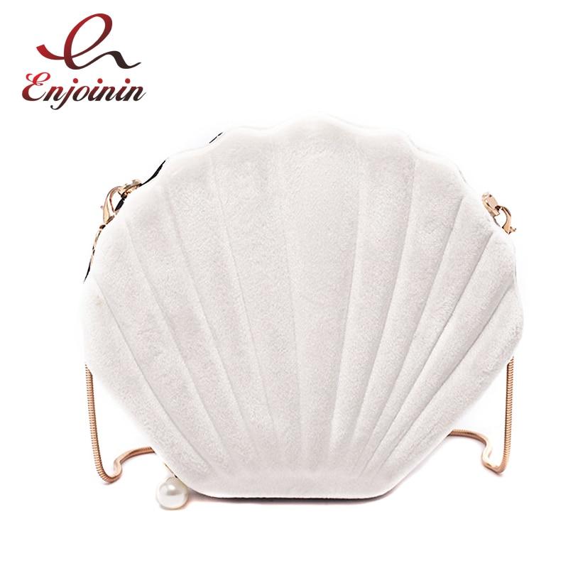 New Design Cute Shell Shape Corduroy Fashion Ladies Shoulder Chain Bag Purses And Handbags Crossbody Bag Clutch Bag Bolsa Totes