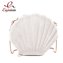 New Design Cute Shell Shape Corduroy Fashion Ladies Shoulder Chain Bag Purses an