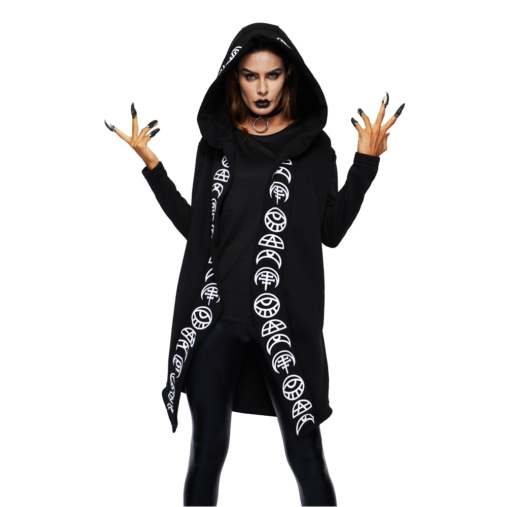 2018 Fall Gothic Casual Cool Chic Black Plus Size Women Sweatshirts Loose Hooded Plain Print Female Punk Hoodies