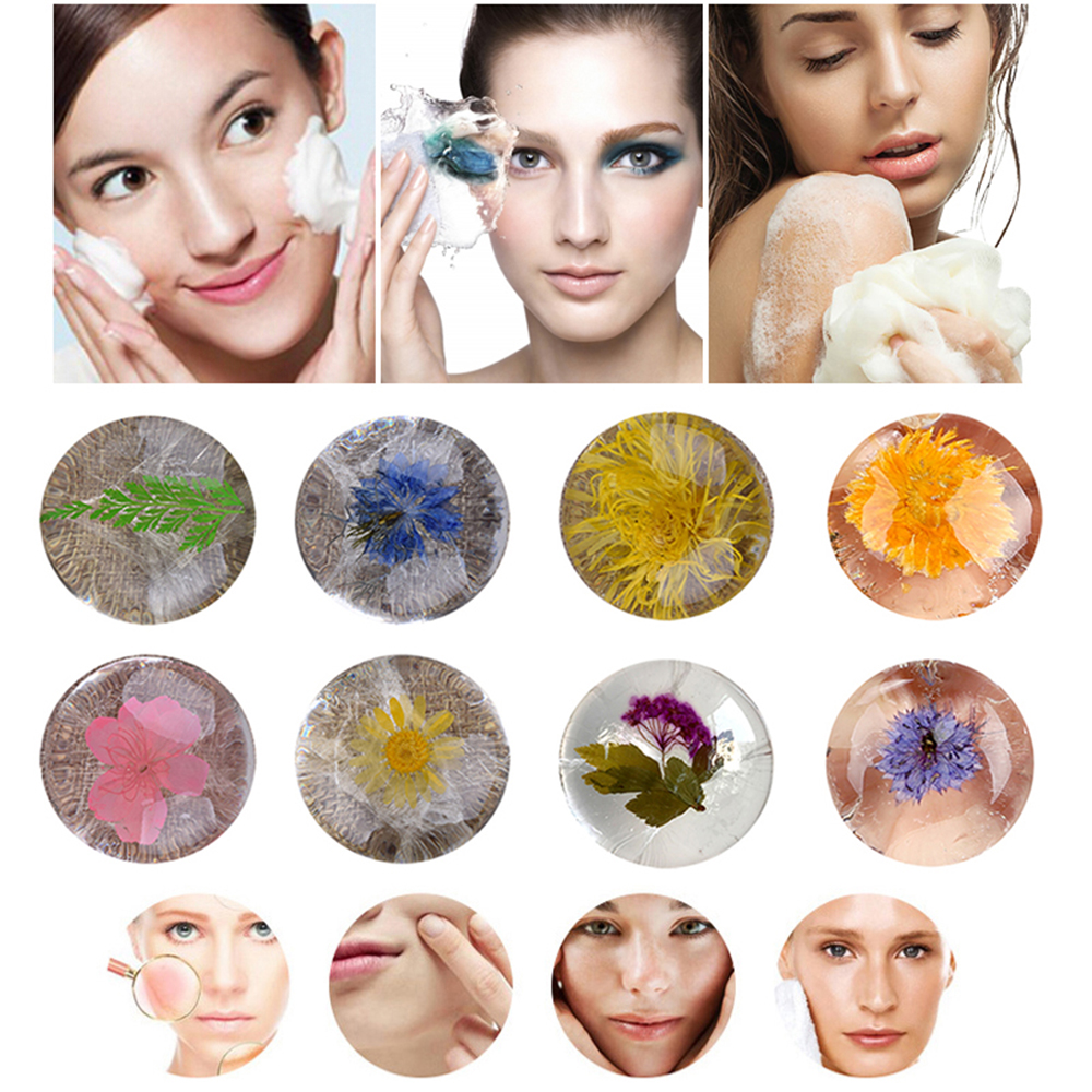 Natural Non-Stimulating Handmade Soap Amino Acid Gemstone  With Flower Inside PH 5.5 Deep Clean Oil And Acne Control TSLM2