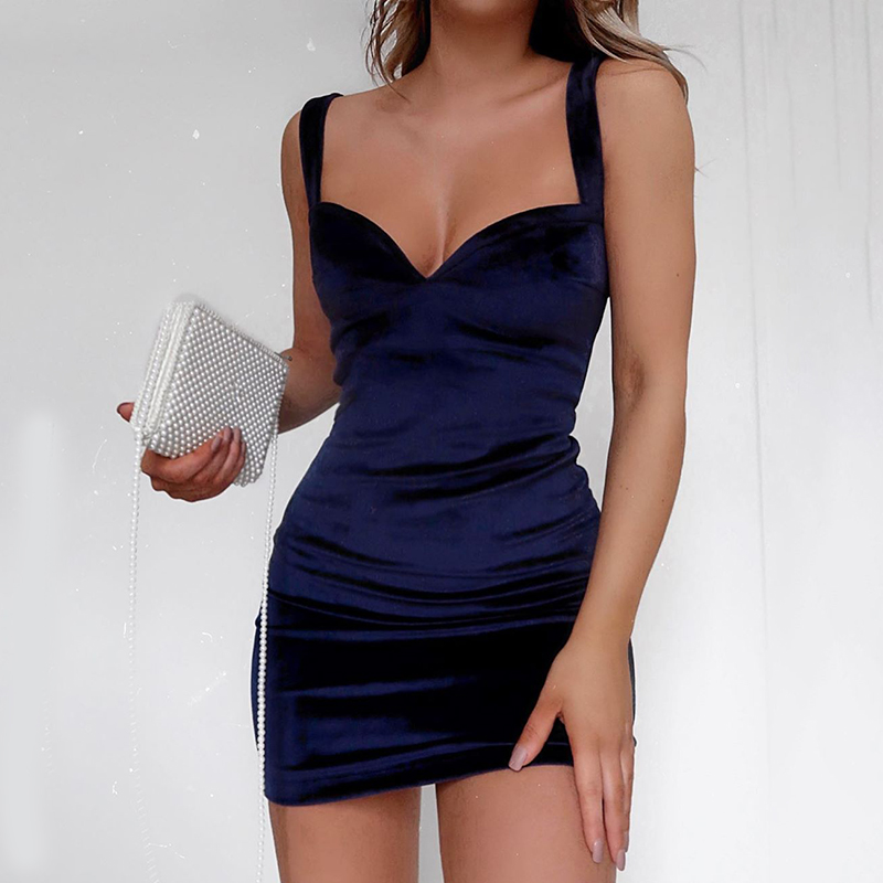 Neck Spaghetti Straps Party Mini Dress Backless Summer Sleeveless Bodycon Short Dress Blue Sexy V