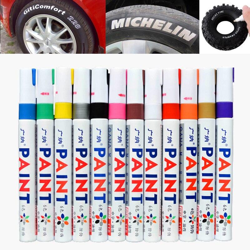 12 pcs lote colorido a prova d agua caneta pneu de carro pneu cd de metal