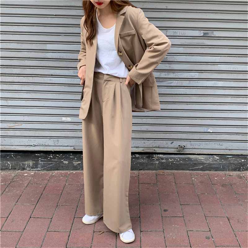 HziriP 2019 Autumn All Match Office Lady OL Style Solid Elegant Blazer +Straight Casual Loose Trouser Women Suits 2 Piece Sets