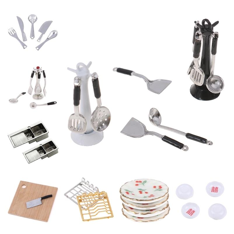 1:12 Mini Dollhouse Miniatures Tableware Cutlery Knife Fork Spoon Knife Chopping Block Dish Shelves Kitchen Food Furniture Toys