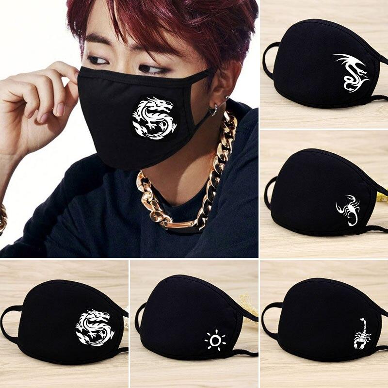 Новая Черная хлопковая маска для губ с драконом, симпатичная маска для лица, моющаяся многоразовая Ветрозащитная маска для рта для мужчин и ...