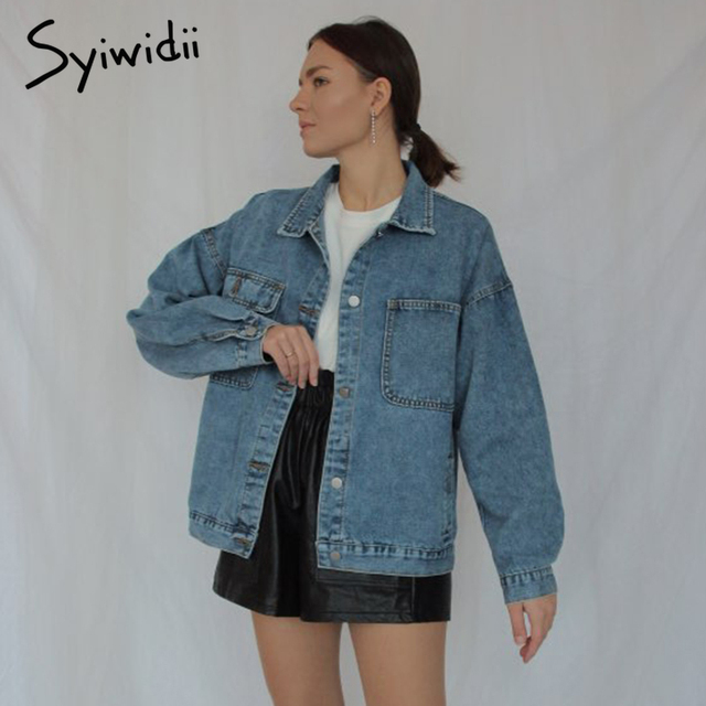 Syiwidii Jean Jacket Women Clothes Oversized Jeans Denim Coat Korean Coats Spring Fall 2021 New Jackets for Women Solid Casual 2