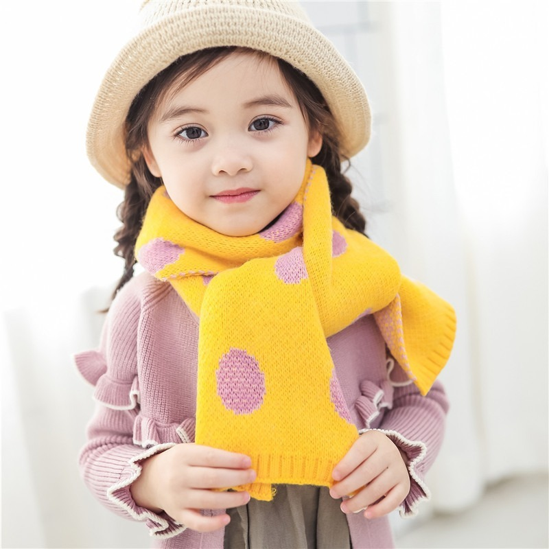 Jeseca 2019 Autumn Winter Thick Warm Scarves for Children Cute Dot Print Scarf Boys Girls Lovely Cotton Knitted Warm Scarf Wraps
