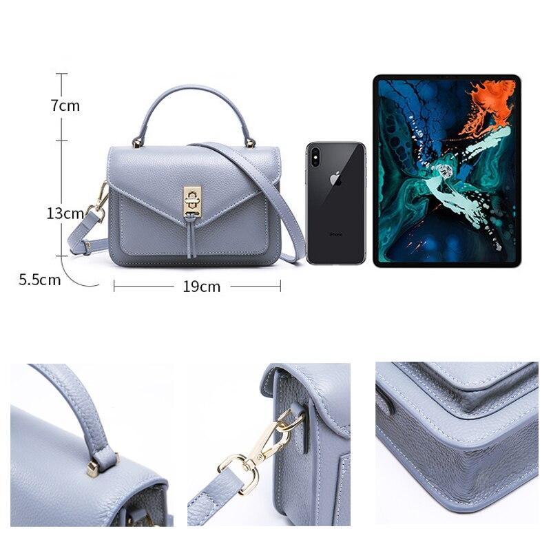 Роскошная дизайнерская Вместительная женская сумка из 100% натуральной кожи, простая маленькая сумка с клапаном, цвет черный, розовый, Высоко... - 3